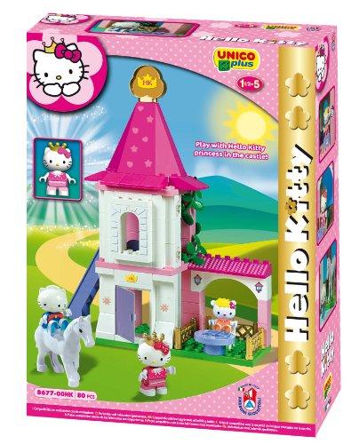 Unico 8677 - Juego de construcción de castillo (80 piezas, tamaño pequeño), diseño de Hello Kitty