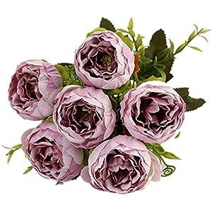 Flores de seda de peonía artificial Ramo Pálido Púrpura Falso 6 Cabezas Flores para el hogar Decoración nupcial del…