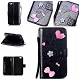 iPhone 7G / 7 Case Leather, Ecoway 3D Fashion Handmade Bling Diamond Crystal Butterfly flower pattern PU Leather Stand Function Protective Cases Covers with Card Slot Holder Wallet Book Design Detachable Hand Strap for iPhone 7G / 7 - black