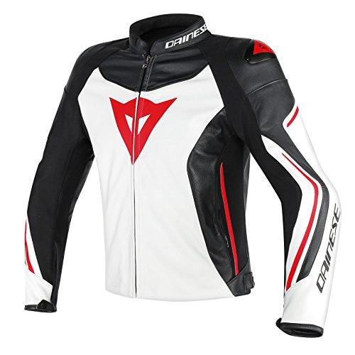 Preisvergleich Produktbild Dainese Assen Leder Motorradjacke, Weiß/Schwarz/Lava Rot, Größe 54