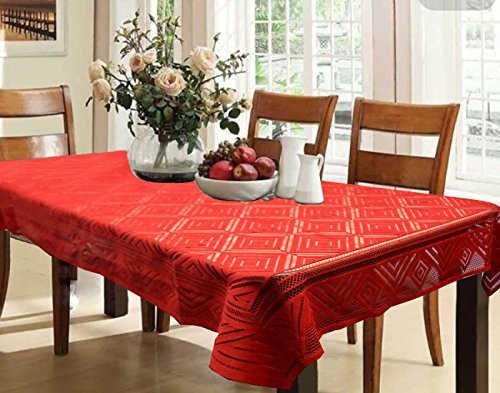 Kuber Industries™ Dining Table Cover Maroon Cloth Net For 6 Seater 60*90 Inches (Abstract Design)