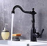 ROKTONG Nouveau Style Robinet de Cuisine en Bronze Noir 360 TournerCouleur Noire Robinet Robinet mélangeur Froid et Chaud Noir Robinet de Cuisine rétro