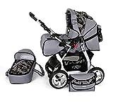VIP Clamaro 2 in 1  Kombi Kinderwagen aus Aluminium inkl. Soft Babywanne und Sport Buggyaufsatz - Hartgummi Bereifung (Alu) - 47. Grau / Schwarze Blumen