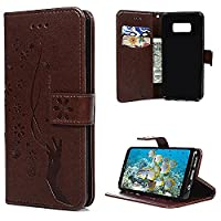 S8 Plus Case, Galaxy S8 Plus Wallet Case, YOKIRIN PU Leather Magnetic Folio Inner Soft TPU Embossed Butterfly Hand with Card Slots Kickstand Flip Wallet Cover for Samsung Galaxy S8 Plus, Brown