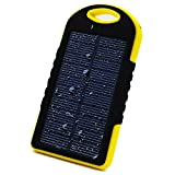 SHOP-STORY - Chargeur Solaire Universel avec Lampe LED - Power Bank Portable Imperméable et Antichoc - Batterie Externe de 5000mAh avec Double Ports USB - Jaune