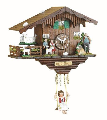 Kuckulino Schwarzwalduhr Schweizerhaus mit drehenden Ziegen, Quarzwerk und Kuckuckruf, inkl. Batterie TU 2020 SQ