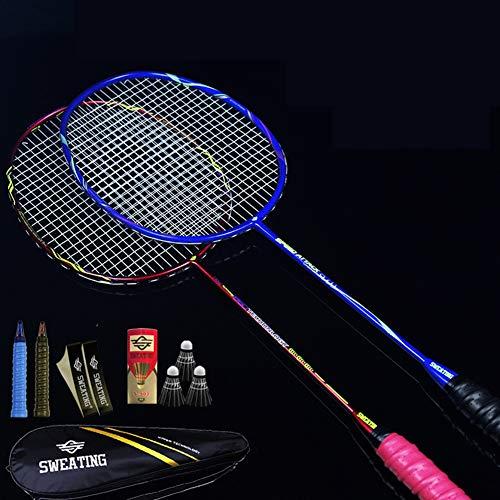 VIWIV 2 Sticks Full Carbon Badminton Racket Carbon Fiber Ultra Light Offensive 4u Double Shot Durable, geeignet für Outdoor Training Sports Club Amateur High-End-Spieler,5