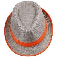 COMVIP Hombres Neón raya ala del sombrero de paja de Fedora casquillo de  Sun del sombrero 8a76490e487