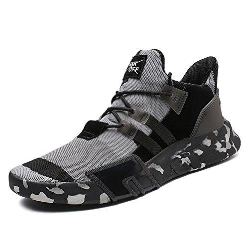 SITAILE Herren Sportschuhe Atmungsaktiv Gym Turnschuhe Leichtgewicht Laufschuhe Lace up Freizeitschuhe Trainer Outdoor Sneaker Shoes,B-Schwarz Grau,eu43