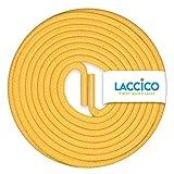 LACCICO Finest Waxed Laces - Durchmesser 2,5 mm, robuste gewachste premium Schnürsenkel; Farbe:Gelb, Länge:60 cm