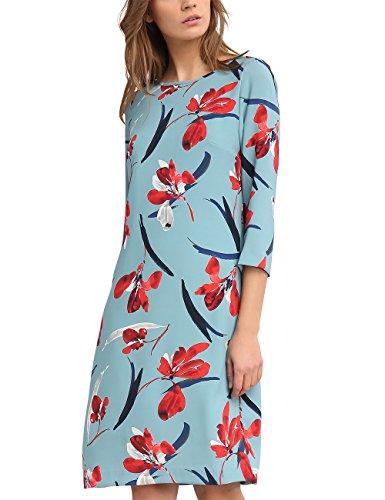 APART Taste Damen Kleid 64377, Mehrfarbig (Rauchblau-Multicolor), 38