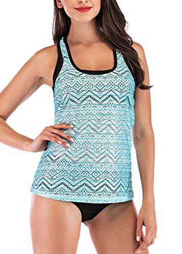 Viloree Damen Tankini Set Bademode Bügelloser Bikini Top mit Racerback Bauchweg Figurformender Hell blau L -