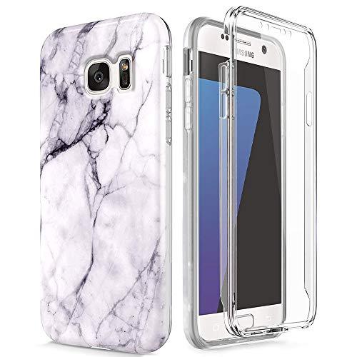 Kompatibel mit Samsung Galaxy S7 Edge Vordere und Hintere Hülle, Ultradünn Transparent Marmor 360 Grad Schutzhülle Weich TPU Silikon Handyhülle mit integriertem Displayschutz, Weiß Schwarz - Doppel-marmor