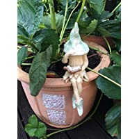 Shy fairy, hand made fairy garden pottery fairy, reading her book, light green