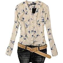 Amlaiworld Femmes Oiseau élégant chemisier impression chemises Slim