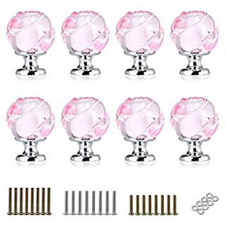 IGNPION 8x30mm Drawer Knob Crystal Drawer Pull Handles for Bathroom Vanity Nightstands Cabinet with 3 Set Screws (Pink)