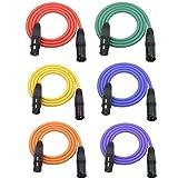 LoongGate Mikrofonkabel, 3-poliges XLR-Kabel, männlich, weiblich, geschirmtes Audiokabel 1M/3.2ft 6er-Pack