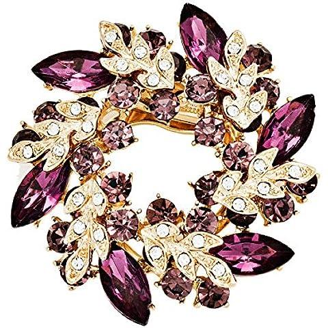 Lily Jewelry brillante Swarovski incastonati, placcata in oro, montatura a Cluster con cristalli austriaci-Spilla a forma di Bouquet, da donna