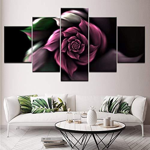(Wiwhy Leinwand Malerei Sofa Hintergrund Wandbild 5 Stücke Aquarell Rose Blume Abstrakte Wandkunst Bild Schlafzimmer Wohnzimmer Wohnkultur,10X15/20/25Cmwiwhy)