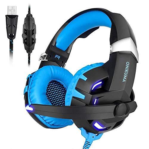 Dayangiii PS4 Gaming Headset, PC Stereo Headset Kopfhörer mit Mikrofon LED Lichter für PC Computer, Laptop, Tablet und andere USB-Geräte
