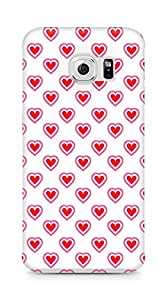 Amez designer printed 3d premium high quality back case cover for Samsung Galaxy S6 Edge (Heart Pattern7)