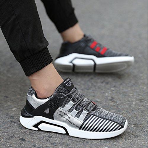 Ubfen Hommes Femmes Sport Chaussures Course À Pied Running Gymnastique Sport Et Loisirs Casual Sneakers Tissé À La Main Blanc Noir 36-47 C Gris