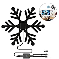‏‪HD Digital TV Antenna, Dokfin Snowflakes Shape 80 Miles Range Indoor HDTV Antenna With Powerful Amplifier Signal Booster And 16ft Coaxial Cable For 1080P 4K Free TV Channels‬‏