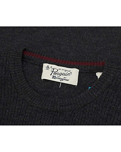 Original Penguin Herren Italienisch Merino Basketweave Logo Strick, Rot Anthrazit