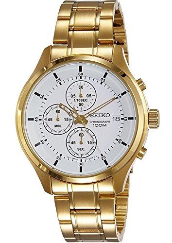 Seiko uomo cronografo, cassa in acciaio inossidabile placcato oro & bracciale, 100M W/R–SKS544P1