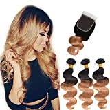 """10A Ombre Brazilian Body Wave 3 Bundles with Closure 2 Tone Ombre Hair Extensions with Lace Closure Brazilian Virgin Human hair Weft Natural Black to Brown (14"""" 16"""" 18""""+14"""", 1B/27)"""
