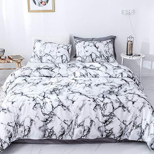 Janzaa 3-teiliges Bettwäsche-Set aus Mikrofaser, weicher Bettdeckenbezug für King-Size-Betten mit Kissenbezügen Queen White Marble (White Queen-size-betten)