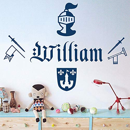 WWYJN Children's Vinyl Wall Stickers Personalized Name Removable Wall Decals Bedroom Gray 57x41CM