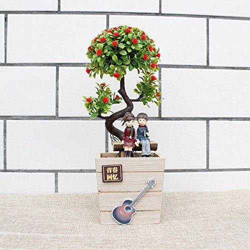 clg-fly simulazione piante bonsai amanti creativi di decorazione fiore verde decorazione casa, Tavolino Tavolo per TV JC3357 (red plants)