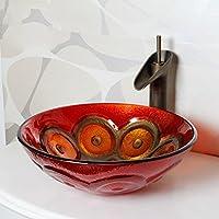 AIURLIFE Materiale lavello rotondo contemporaneo è temperato GlassBathroom lavello / rubinetto del bagno / bagno montaggio anello , 2