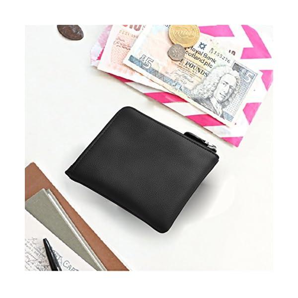 f9e1167253 ... viaggioLackingone Mini Portafoglio di Pelle RFID con Cerniera Lampo  Porta Carte da viaggio Portafoglio Classico Borsa Wallet Nero. 🔍.  Accessori ...