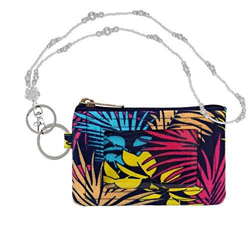 Anya Ausweishülle, mit Reißverschluss, Perlenband, Schlüsselgeldbörse, Kreditkarten-Etui mit Ausweisfenster, Perlenband/niedlicher Ausweishalter/Ausweishalter - Beige - -