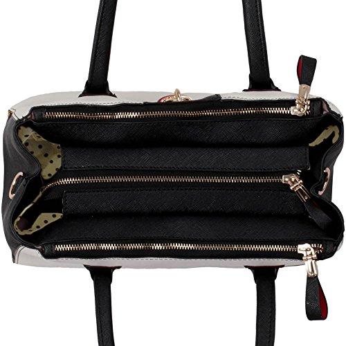 LeahWard® Grete Taille Cadenas Sacs Fourre-Tout Pour Femme Élégance Femme 3 Compartments Sac Betoulière Sacs À Main A4 Sac 195 Noir/Blanc