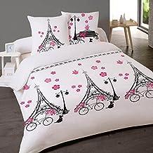 housse de couette paris vlo 220x240 cm 100 coton - Housse De Couette Romantique Rose
