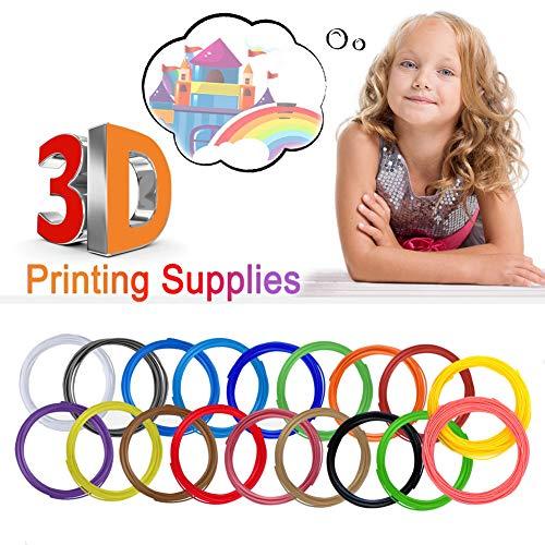 Deng Xuna 3D Stift Filament 1.75 mm PLA Filament Refill Set Pen Supplies 18 Farben 3M 3D Druck Kreative Hobbys 3D Drucker Verbrauchsmaterial Drucken 3D Druckmaterialien für Kinder (Mehrfarbig)