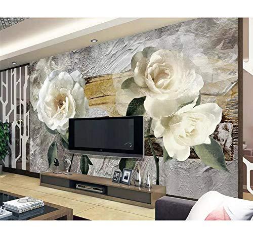 Blume Wasser Gardenia (Fototapete 3D Vliestapete Retro Blume Gardenia Tv Hintergrund Wand Dekoration Wohnzimmer 300 Cm × 200 Cm)