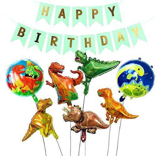 Animo Dinosaurier Ballon Set zum Dekorieren von Party 5 Dinosaurier und 2 Ballons plus ein Happy Birthday Banner Dschungel Stil ()