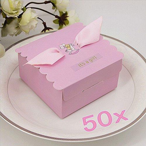JZK® 50 X Rosa Baby Mädchen, Geschenkbox Gastgeschenk Bonboniere Box  Geschenk Schachtel.