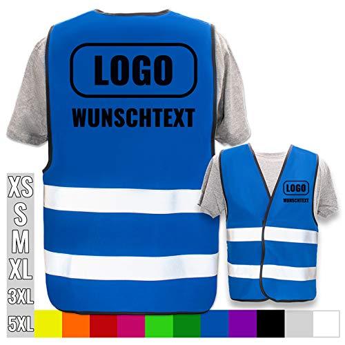 Hochwertige Warnweste mit Leuchtstreifen * Bedruckt mit Name Text Bild Logo Firma * personalisiertes Design selbst gestalten, Farbe Warnweste:Blau (XL/XXL), Druckposition:Rücken + Linke Brust -