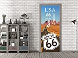 GRAZDesign 791633_92x205 Tür-Bild Spruch USA Route 66. | Aufkleber Fürs Wohnzimmer | Tür-Tapete Selbstklebend (92x205cm//Cuttermesser)