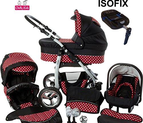 Chilly Kids Dino Kinderwagen Safety-Set (Autositz & ISOFIX Basis, Regenschutz, Moskitonetz, Getränkehalter, Schwenkräder) 34 Schwarz & Rot & Punkte