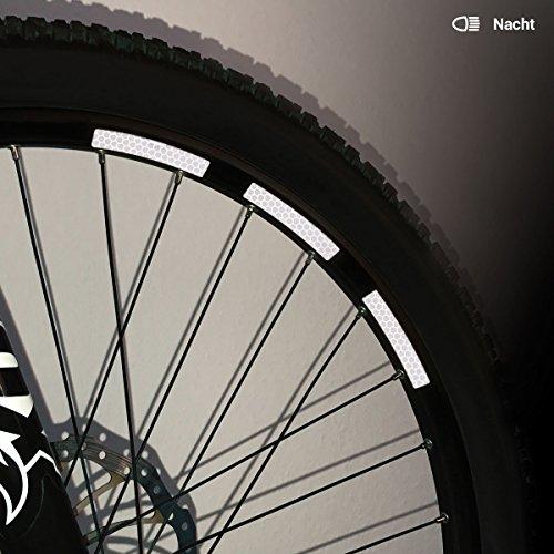 Motoking Fahrrad-Reflektorenaufkleber mit Waben-Reflex-Optik - Weiß - 22 Aufkleber im Set - Breite: 10 mm - reflektierende Felgenaufkleber für Mountainbike-, Fahrradfelgen & mehr