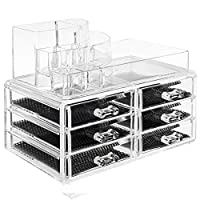 TRESKO® Acrylic Clear Make up Cosmetic Organiser Beauty Nail Polish Varnish Display Stand, Jewellery, Accessories, Storage Box with Drawers (6 Drawers - JWYOGR-005)