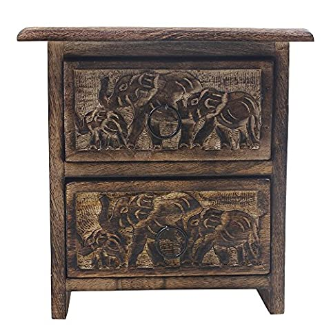 Mothers Day Gifts Chest Of 2 Drawers (Mangowood) Jewellery Keepsake Organiser Hand Carved With Elephant Motifs Home Decor