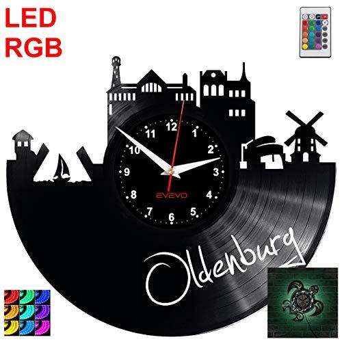 EVEVO Oldenburg Wanduhr RGB LED Pilot Wanduhr Vinyl Schallplatte Retro-Uhr Handgefertigt Vintage-Geschenk Style Raum Home Dekorationen Tolles Geschenk Uhr