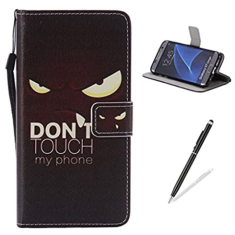 Feeltech Samsung Galaxy S7 Edge Case PU Leather Flip Cover With Colourful Painting Pattern Folio Wallet Case MagneticClosure HybridKickstand With Stand Function FlipProtective Soft TPU BumperCoverCaseAndCreditCardHolder With Hand Wrist Strip For Samsung Galaxy S7 Edge BookStyle Shell Holster Protective Cover [Free 2 In 1 Stylus] - Stare Evil Eyes Pattern